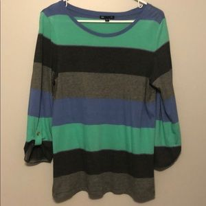 Extremely cozy long sleeve color block shirt